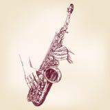 Llustration tirado mão do vetor do saxofone Imagens de Stock Royalty Free