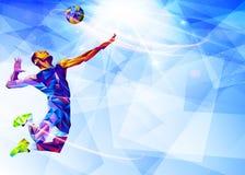 Llustration van het abstracte silhouet van de volleyballspeler in driehoek volleyballspeler, sport vector illustratie