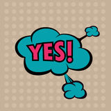 Llustration Yes in comic stile, on cloud Stock Image