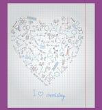 Llustration z notatnika papierem z ikonami na temacie chemia układa w formie serca Obrazy Royalty Free