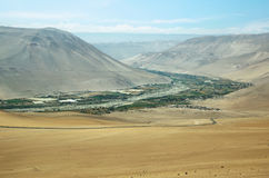 Lluta Valley landscape. Lluta Valley in northern Chile between Lauca National Park and the city of Arica Royalty Free Stock Image