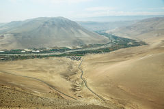 Lluta Valley landscape. Lluta Valley in northern Chile between Lauca National Park and the city of Arica Stock Image