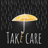 Lluvia abierta del paraguas de la ayuda del cuidado Fotografía de archivo
