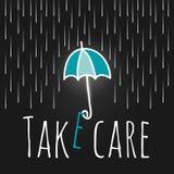Lluvia abierta del paraguas de la ayuda del cuidado Imágenes de archivo libres de regalías