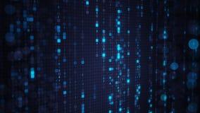 Lluvia azul de la matriz del código digital del HEX. con el bokeh Fotos de archivo