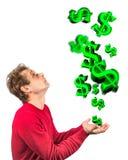 Lluvia conceptual del dinero Imágenes de archivo libres de regalías