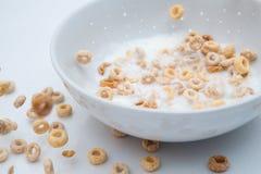 Lluvia de Cheerios con el chapoteo de la leche imagen de archivo