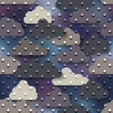Lluvia de la historieta en fondo de las nubes Foto de archivo