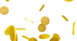 lluvia de las monedas del dólar 3D almacen de video