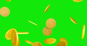 lluvia de las monedas del dólar 3D almacen de metraje de vídeo