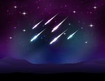 Lluvia de meteoritos del vector Imagenes de archivo