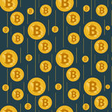 Lluvia de oro de bitcoins en un fondo oscuro libre illustration