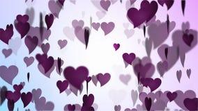 Lluvia del corazón del rosa del día de tarjetas del día de San Valentín