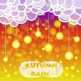 Lluvia del corazón y estrellas con las nubes, otoño Libre Illustration
