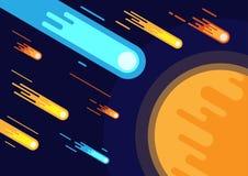 Lluvia del meteorito en desplome del cometa del espacio el planeta, vector del fondo de la astronomía libre illustration