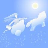 Lluvia del personaje de dibujos animados Imágenes de archivo libres de regalías