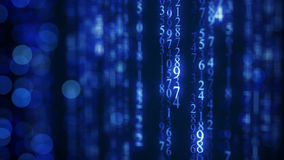 Lluvia digital azul de la matriz en la pantalla Foto de archivo