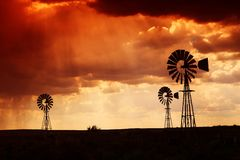 Lluvia en el desierto en la puesta del sol Fotografía de archivo