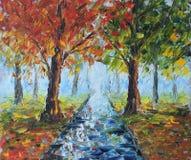 Lluvia en el parque del otoño, pintura al óleo libre illustration