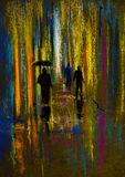 Lluvia en la ciudad de la noche