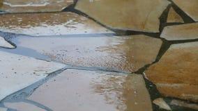 Lluvia en un patio pavimentado almacen de metraje de vídeo