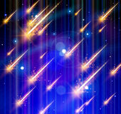 Lluvia, espacio y estrellas del meteorito Fotos de archivo libres de regalías