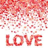 Lluvia hecha de pequeños corazones Amor de la palabra de la forma de los corazones Perfeccione para el día del ` s de la tarjeta  Imagenes de archivo