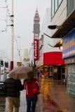 Lluvia a lo largo de la 'promenade' de Blackpool, Lancashire, Inglaterra, Reino Unido Fotografía de archivo libre de regalías