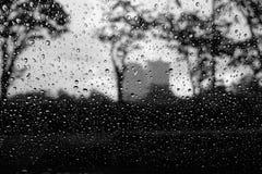 Lluvia sobre el vidrio Fotos de archivo