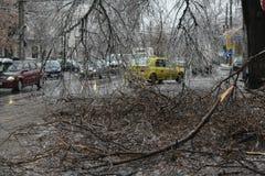 Lluvia sobrefundida en Bucarest foto de archivo