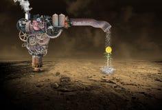 Lluvia surrealista que hace la máquina, agua, flor, Steampunk imagenes de archivo