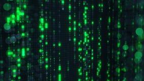 Lluvia verde de la matriz del código digital del HEX. en la pantalla de ordenador Foto de archivo