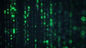 Lluvia verde de la matriz del código digital del HEX. con el bokeh Imágenes de archivo libres de regalías