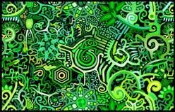 Lluvia verde Forest Abstract del papel pintado Ilustración del Vector