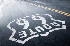 Lluvia y Route 66 Foto de archivo libre de regalías