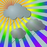 Lluvioso en rayos del arco iris con las nubes ilustración del vector