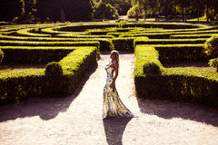Lluxury lady in a silver dress Royalty Free Stock Photo