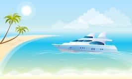 Lluxury yacht på bakgrunden av havet vektor illustrationer