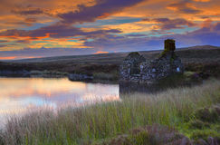 Llyn Conwy. The old workers lodge at the eastern side of Llyn Conwy,North Wales stock images