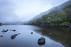 Llyn Crafnant风景早晨有雾的秋天在Snowdo 库存照片