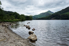 Llyn gwynant, the lake near snowdon, in the middle of Snowdonia national welsh park stock images