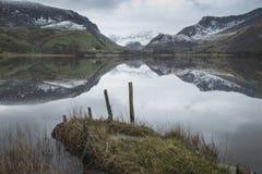 Llyn Nantlle的美好的冬天风景图象在Snowdonia Na的 免版税库存图片