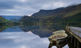 Llyn Nantlle at sunrise looking towards Mt Snowdon Stock Image