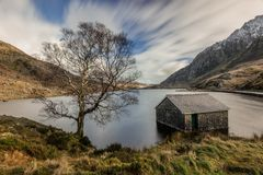 Llyn Ogwen, Snowdonia national park. A long exposure shot of Llyn Ogwen in Snowdonia national park, North Wales Royalty Free Stock Images