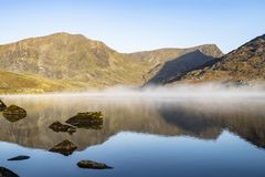 Llyn Ogwen, Y Garn and Foel - Goch royalty free stock image