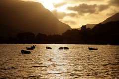 Llyn Padarn Sunrise Royalty-vrije Stock Foto