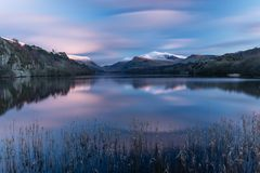 Llyn Paran, Snowdonia national park. A long exposure shot of Llyn Pardan in Snowdonia national park, North Wales at sunset Royalty Free Stock Photo