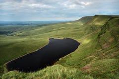 Llyn y fanfach, den welsh sjön i Brecon leder nationalparken Arkivbilder