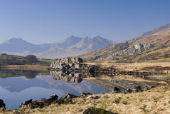Llynnau Mymbyr. With Glyder Fach and Glyder Faw, North Wales Stock Photos