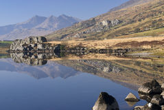 Llynnau Mymbyr. With Glyder Fach and Glyder Faw, North Wales Stock Images